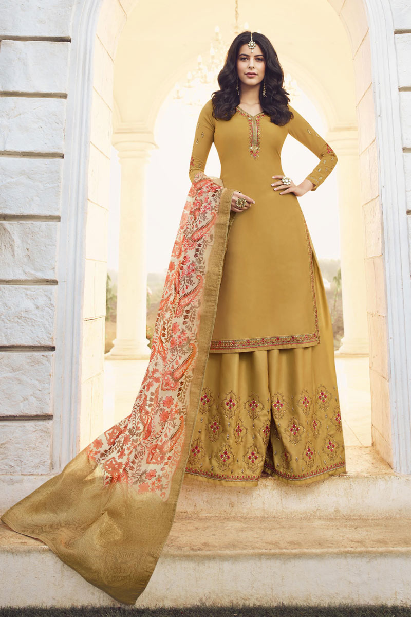 Occasion Wear Golden Color Embroidered Palazzo Suit In Satin Georgette Fabric