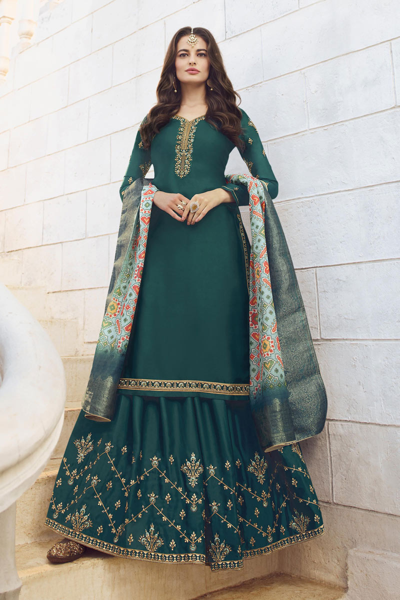 Teal Color Satin Georgette Fabric Occasion Wear Sharara Top Lehenga With Embroidery Work