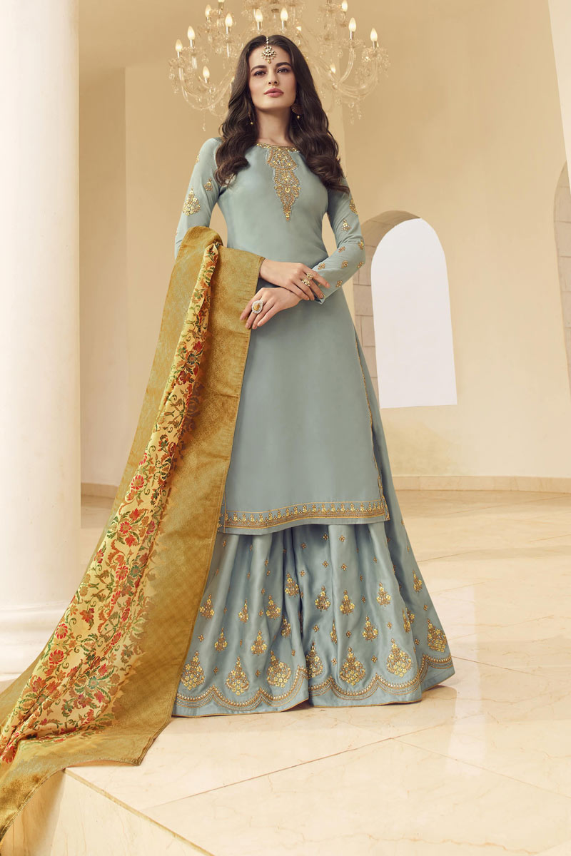 Eid Special Grey Color Satin Georgette Fabric Embroidered Function Wear Palazzo Suit
