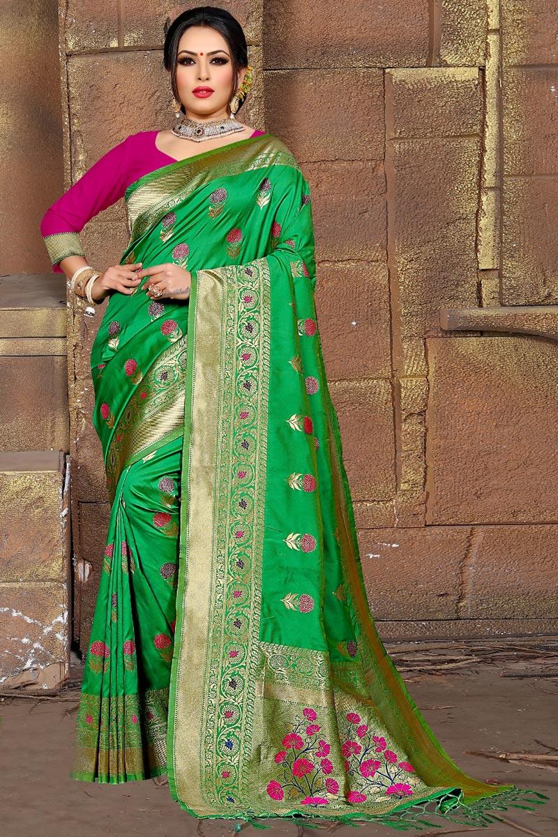 Party Wear Art Silk Fancy Weaving Work Saree In Green