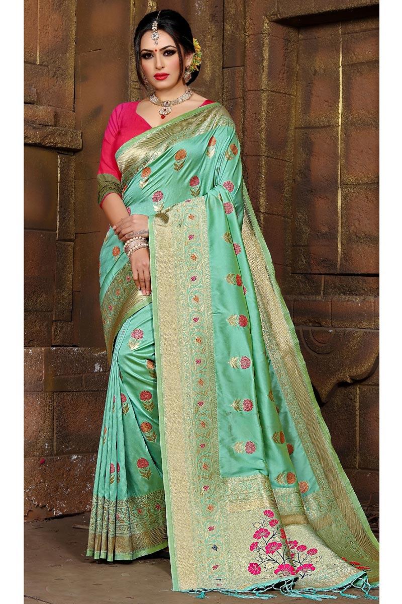 Party Wear Art Silk Fancy Sea Green Weaving Work Saree