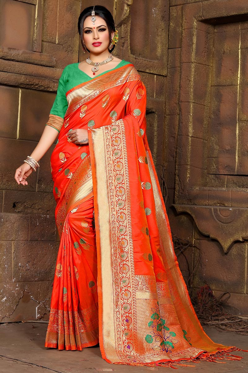 Orange Party Wear Art Silk Fancy Weaving Work Saree