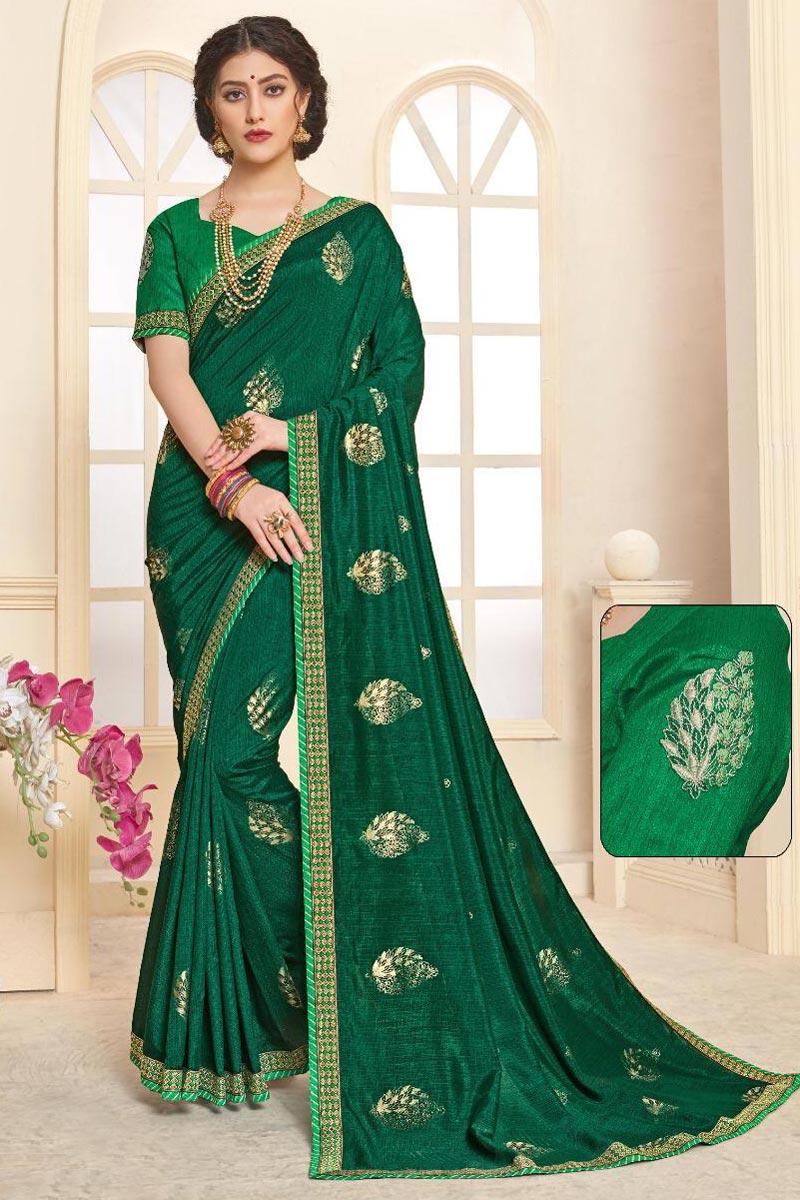 Festive Wear Dark Green Fancy Printed Art Silk Saree