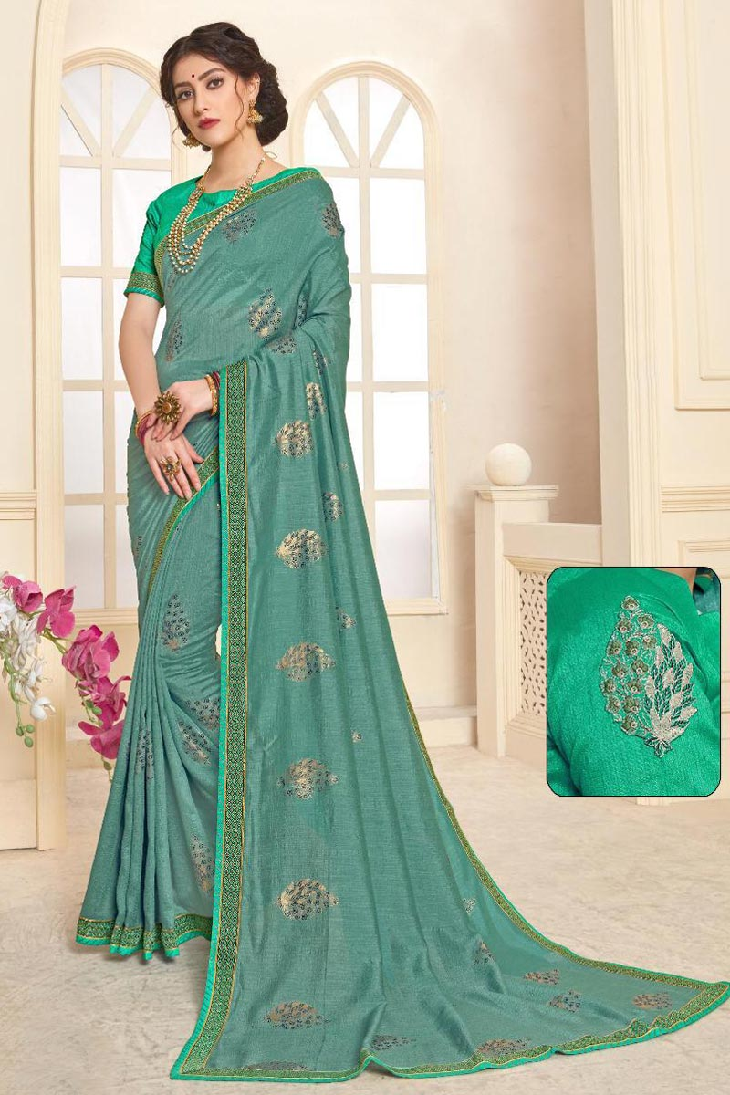 Fancy Festive Wear Art Silk Cyan Saree With Print Work