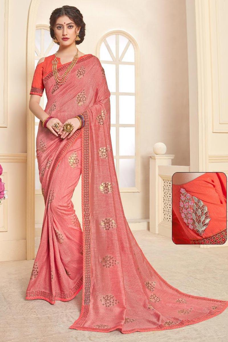 Art Silk Peach Fancy Festive Wear Printed Saree