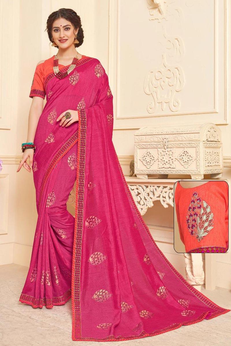 Art Silk Fancy Festive Wear Rani Color Saree With Print Work