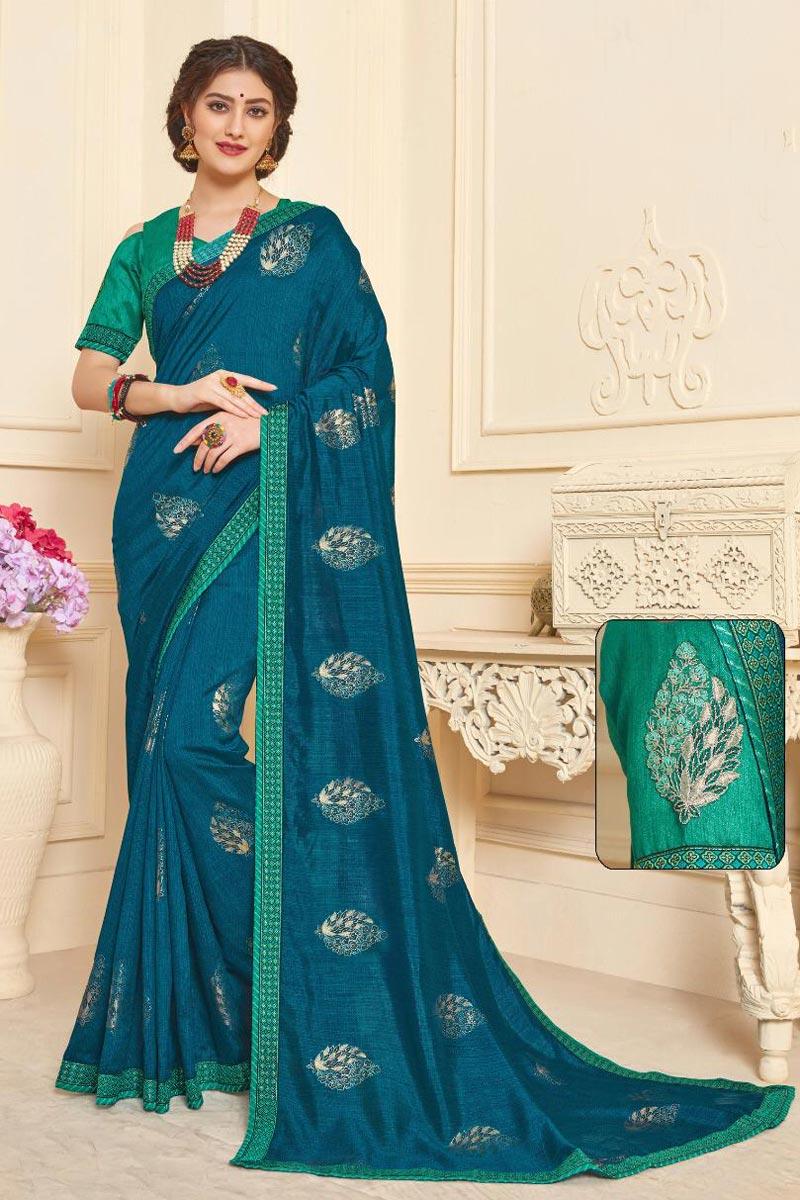 Festive Wear Art Silk Fancy Printed Teal Saree