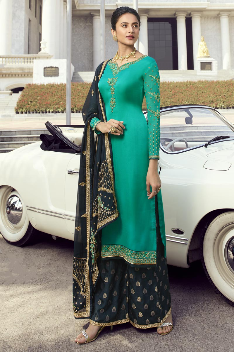 Eid Special Classic Cyan Embroidered Function Wear Palazzo Dress In Georgette