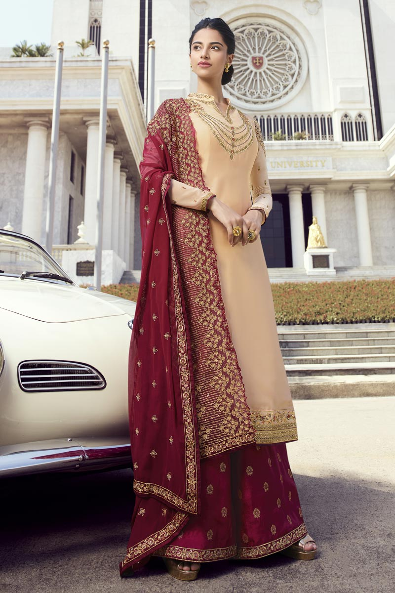 Eid Special Georgette Classic Function Wear Chikoo Color Embroidered Palazzo Suit