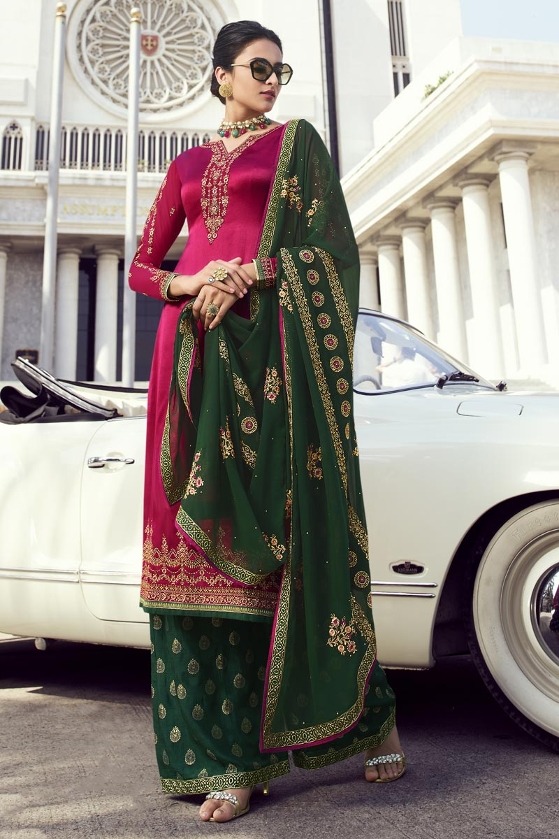 Eid Special Classic Function Wear Georgette Embroidered Palazzo Dress In Pink