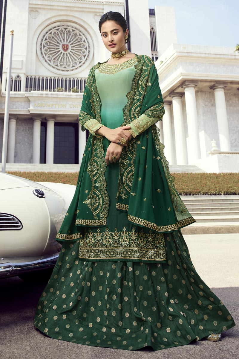 Eid Special Dark Green Classic Function Wear Embroidered Georgette Sharara Top Lehenga