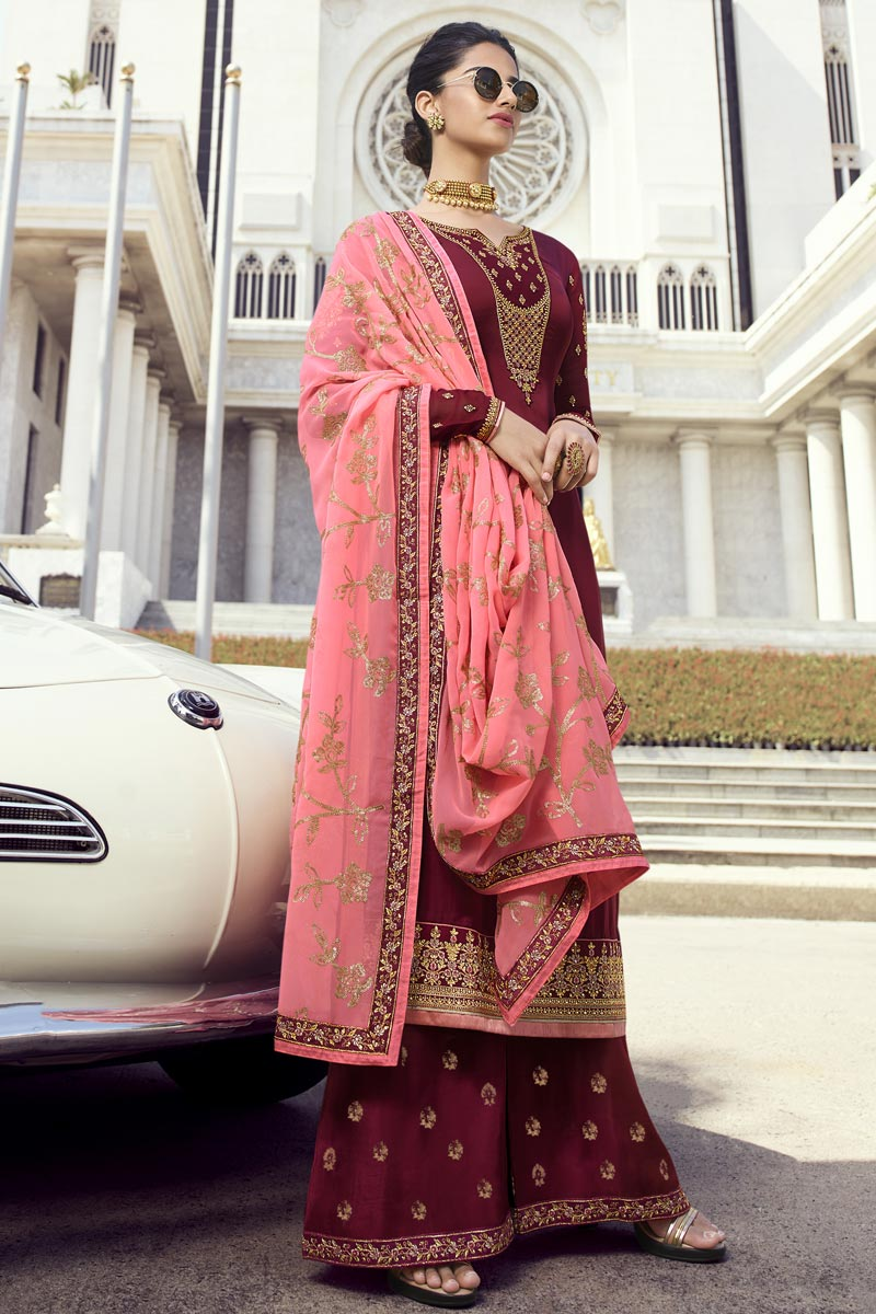 Eid Special Maroon Classic Function Wear Embroidered Georgette Palazzo Suit