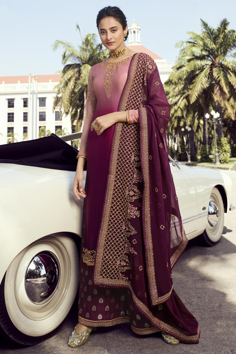 Eid Special Classic Function Wear Burgundy Embroidered Palazzo Dress In Georgette