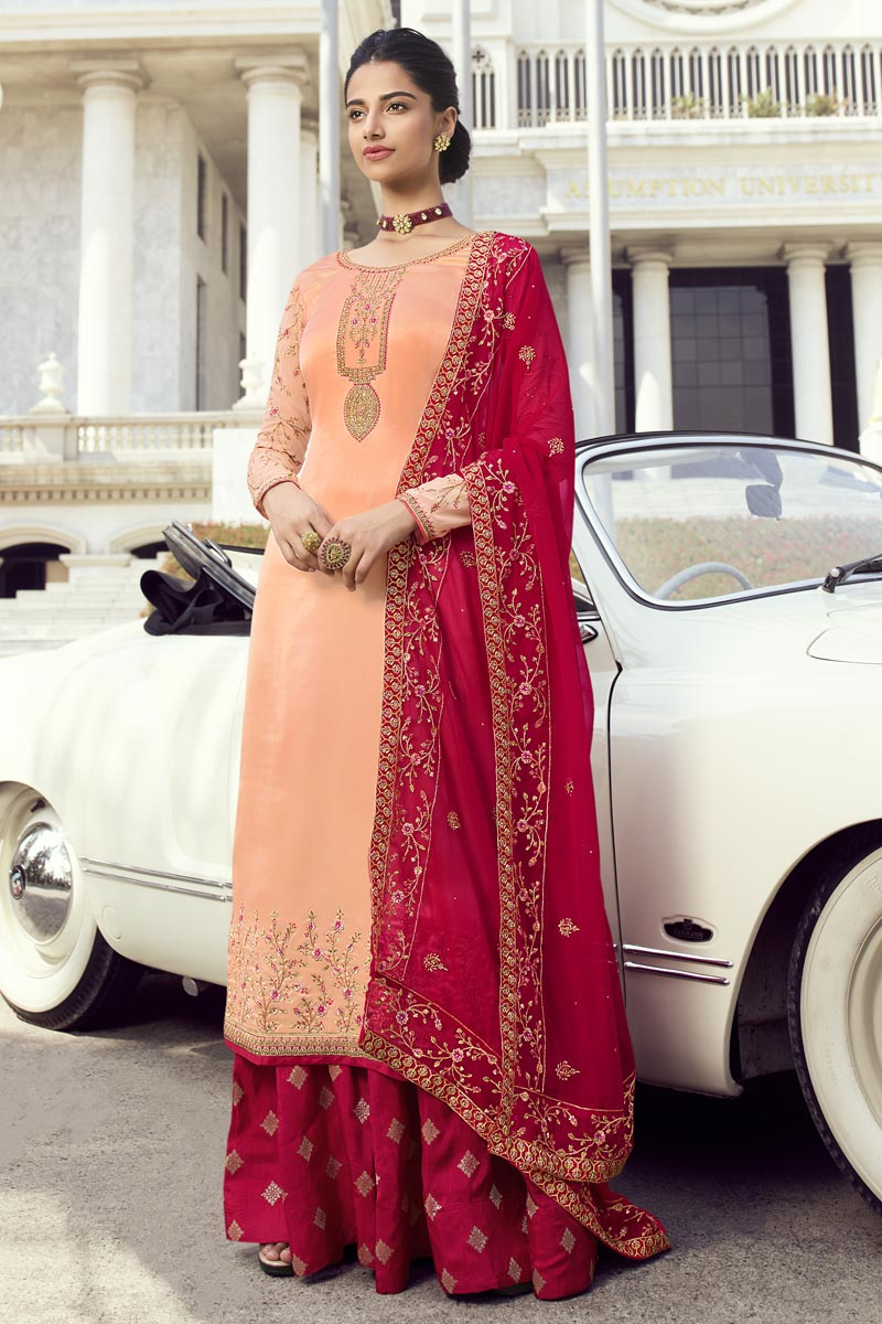 Eid Special Georgette Classic Function Wear Embroidered Peach Sharara Top Lehenga