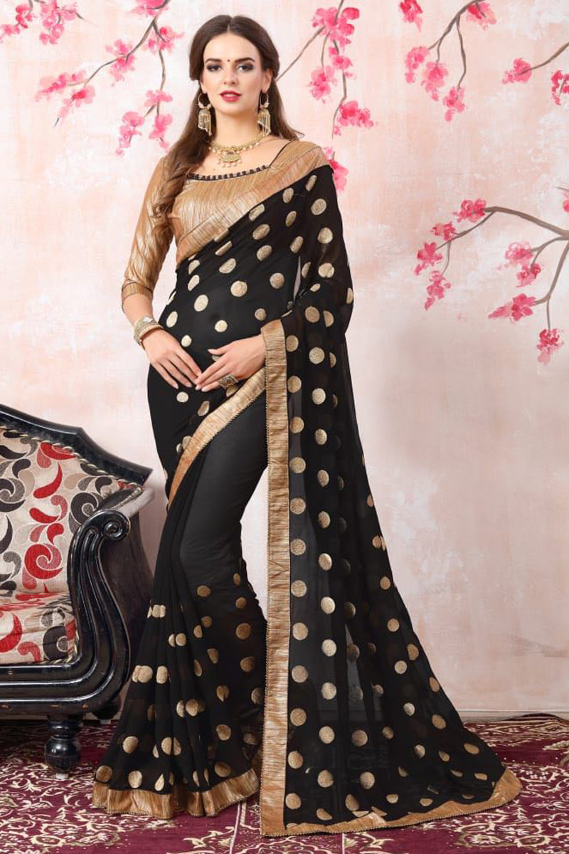 Zari Embroidery Work Georgette Black Function Wear Saree