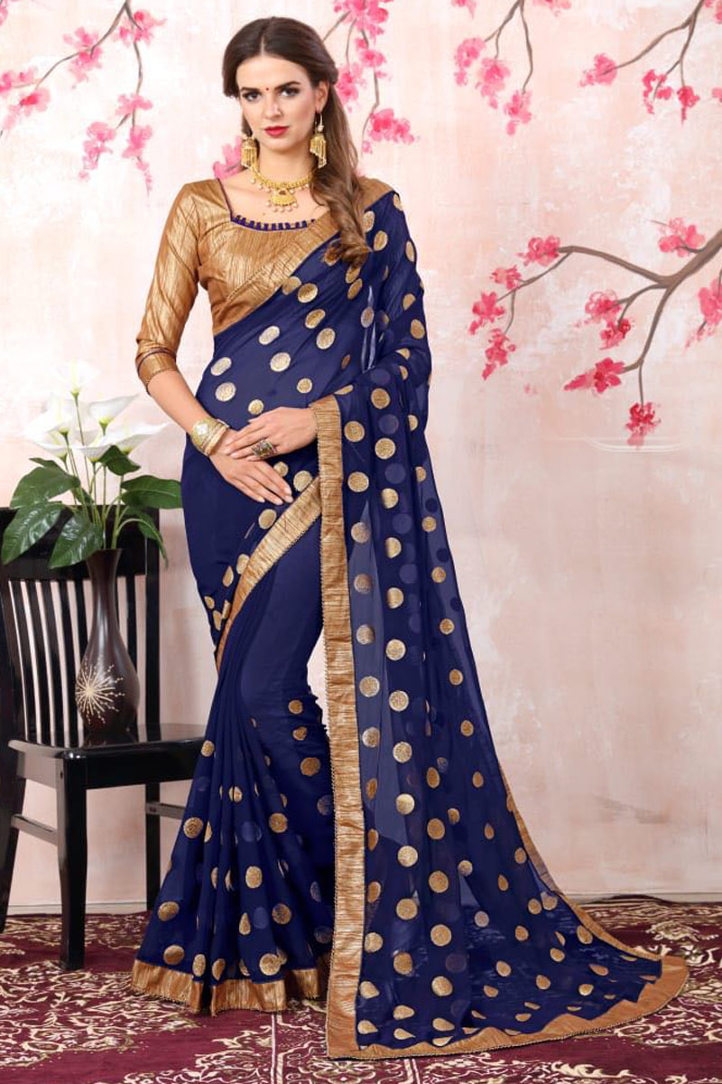 Zari Embroidery Work Navy Blue Fancy Saree In Georgette With Lace Border