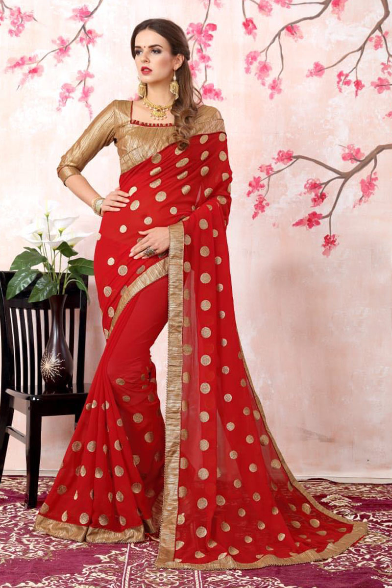 Zari Embroidery Work Red Georgette Heavy Saree With Lace Border