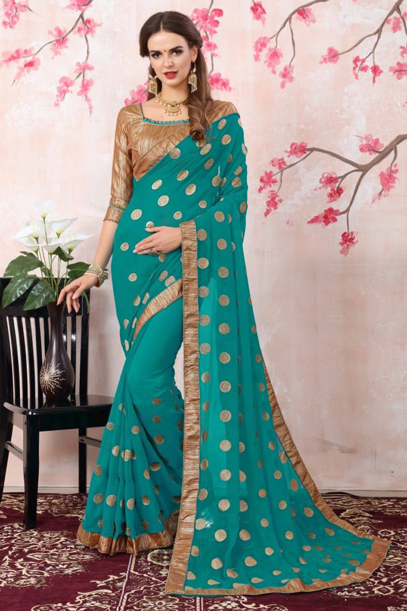 Zari Embroidery Work Designer Cyan Saree In Georgette With Lace