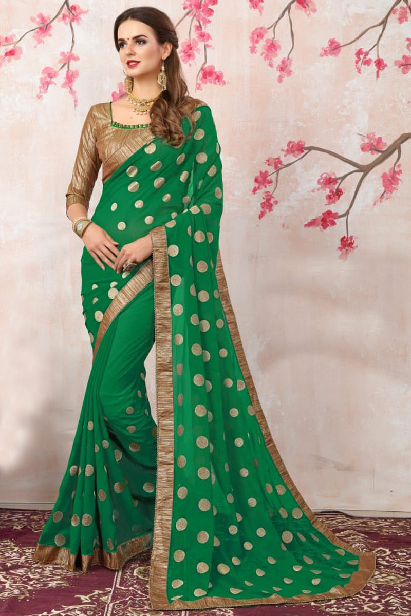 Zari Embroidery Work Georgette Green Fancy Saree With Lace Border