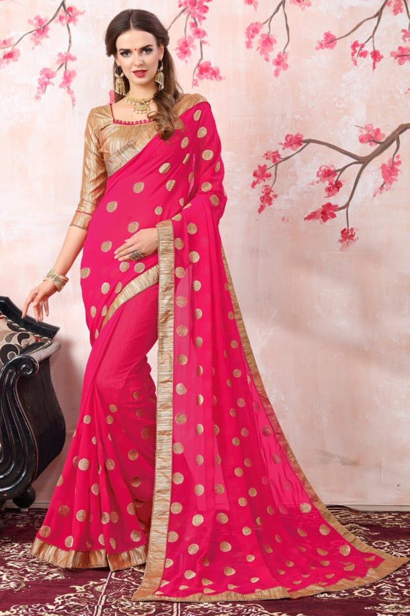 Zari Embroidery Work Crimson Color Function Wear Georgette Saree With Lace