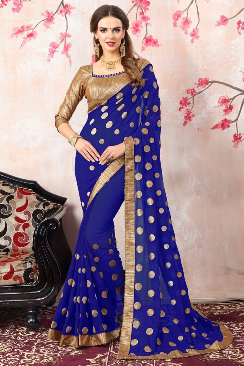 Zari Embroidery Work Blue Georgette Function Wear Saree