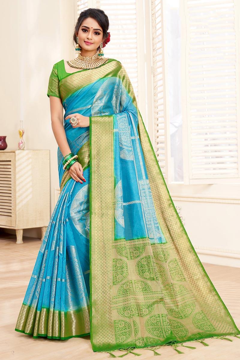 Sky Blue Elegant Art Silk Puja Wear Weaving Work Saree