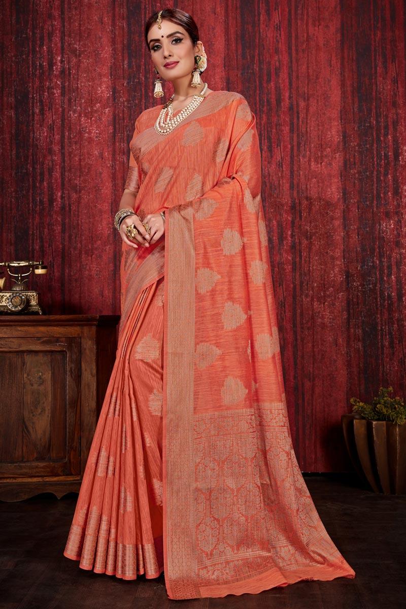 Orange Color Festive Wear Weaving Work Designer Saree In Linen Silk Fabric