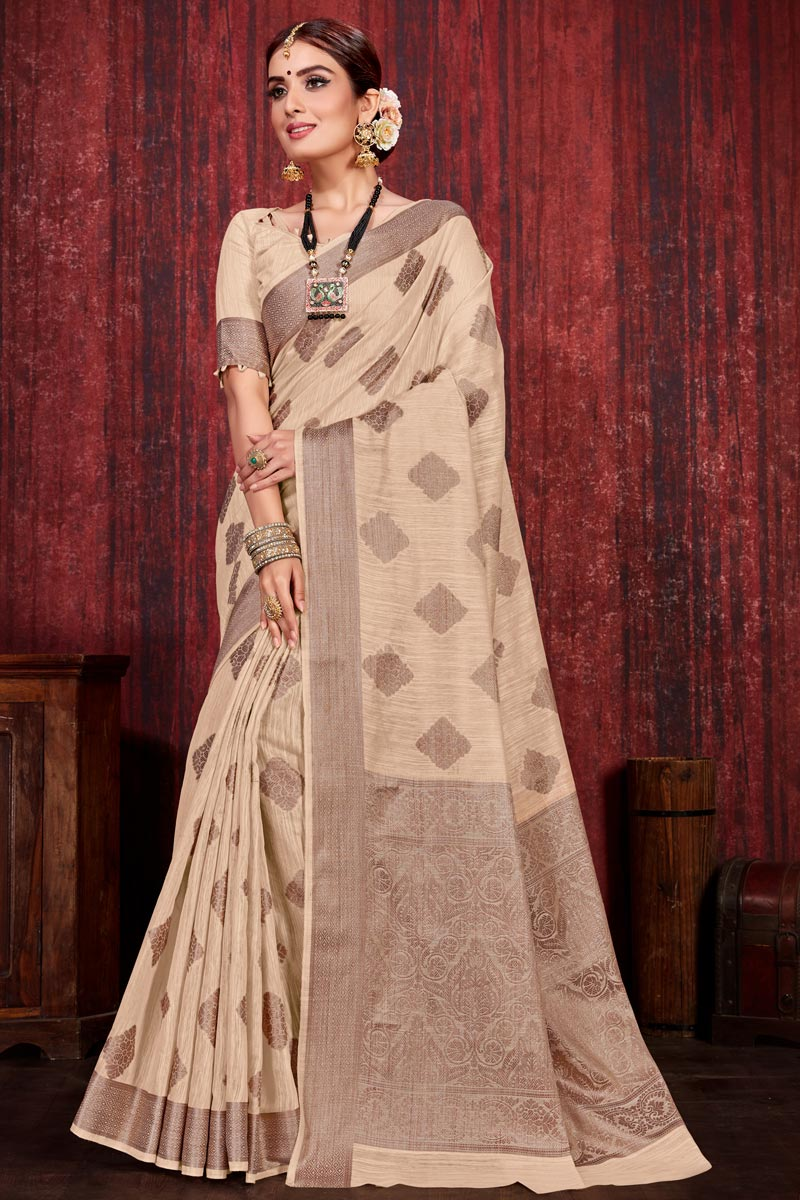 Cream Color Festive Wear Weaving Work Designer Saree In Linen Silk Fabric