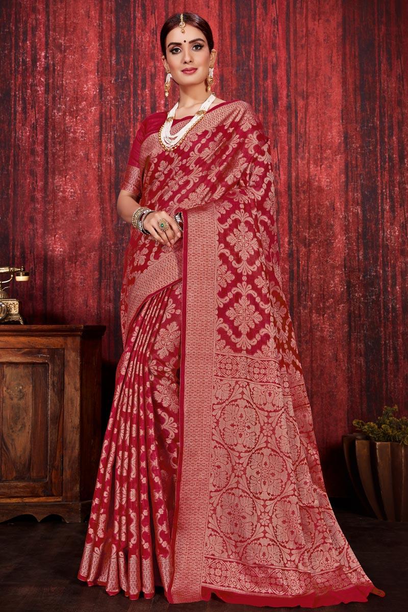 Festive Wear Red Color Linen Silk Fabric Weaving Work Designer Saree