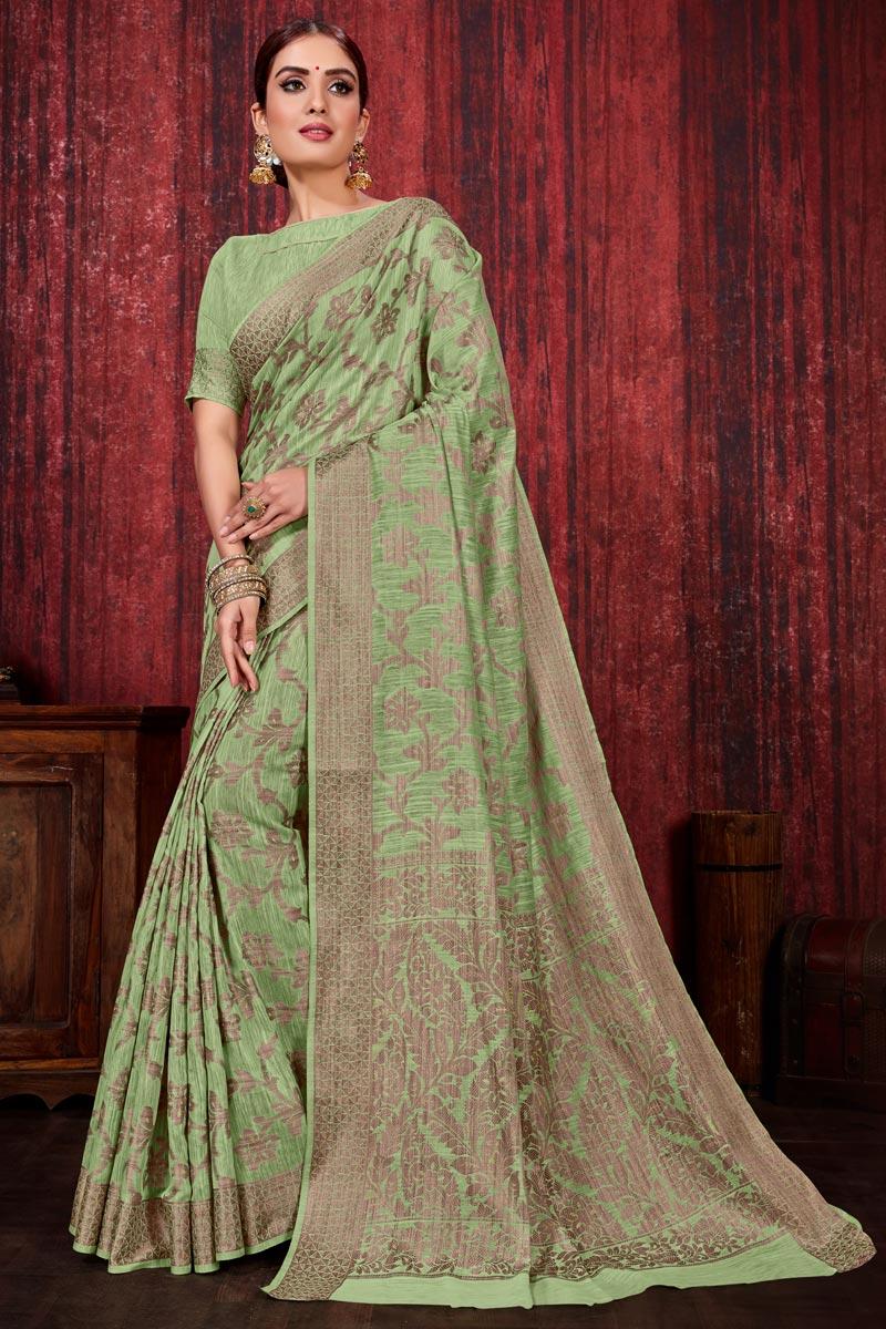 Sea Green Color Linen Silk Fabric Festive Wear Weaving Work Designer Saree