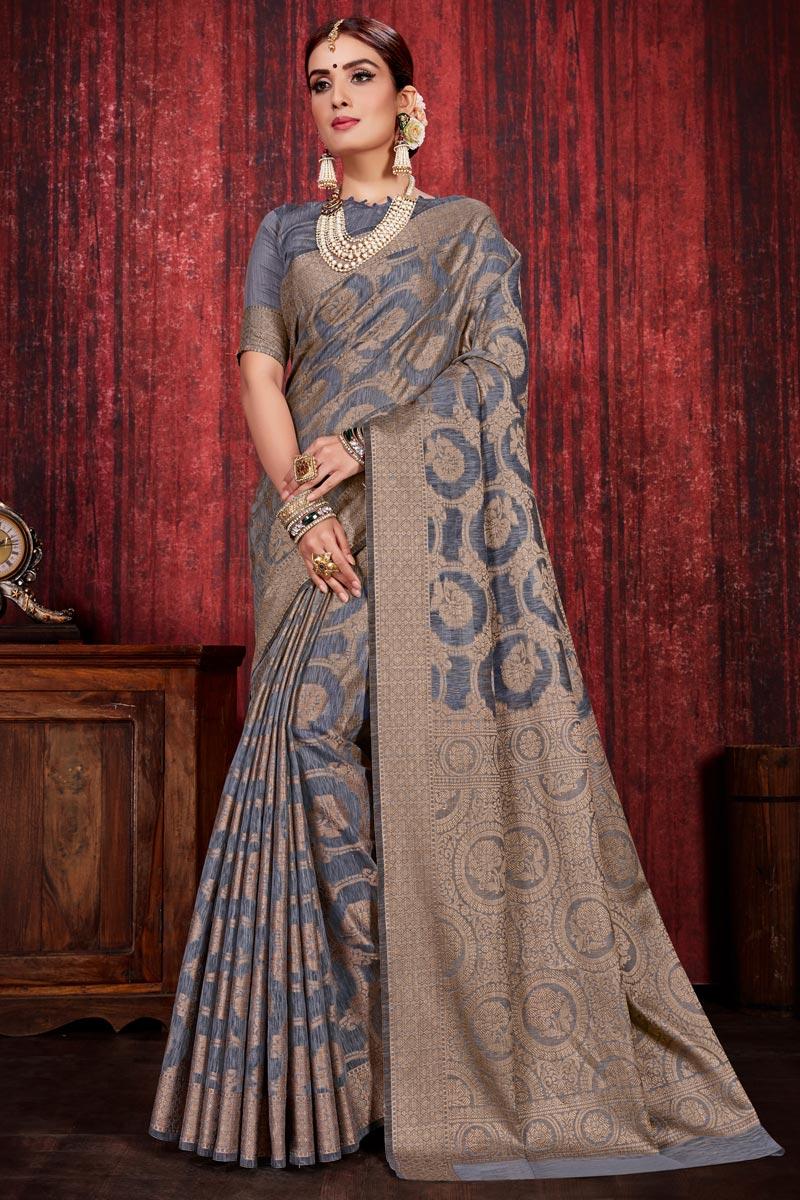 Festive Wear Weaving Work Designer Saree In Grey Color Linen Silk Fabric