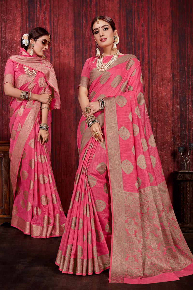 Pink Color Festive Wear Linen Silk Fabric Weaving Work Designer Saree