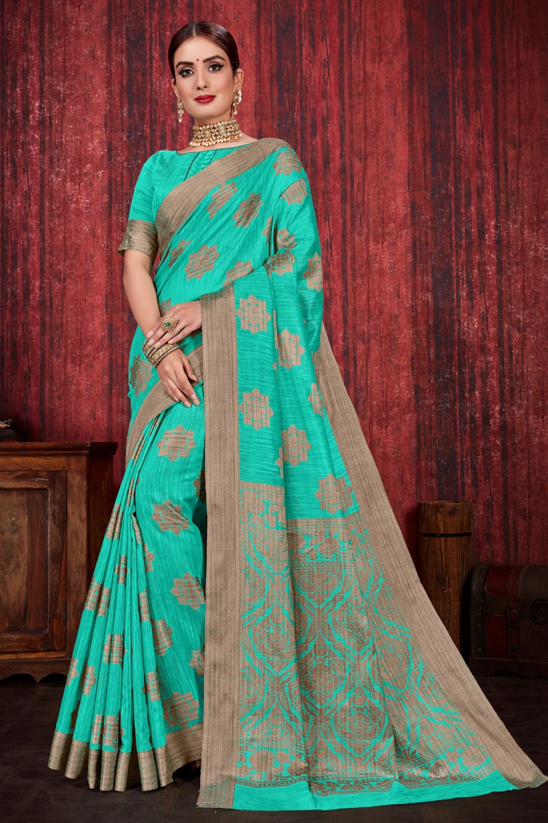 Linen Silk Fabric Festive Wear Weaving Work Designer Saree In Cyan Color