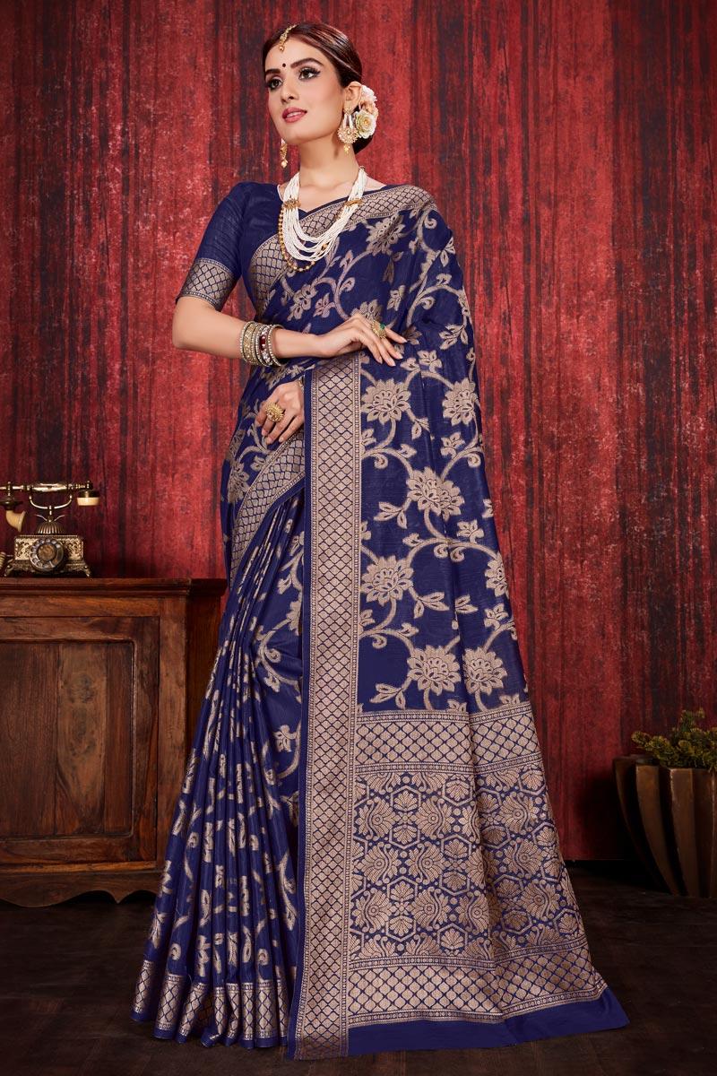 Festive Wear Linen Silk Fabric Navy Blue Color Weaving Work Designer Saree