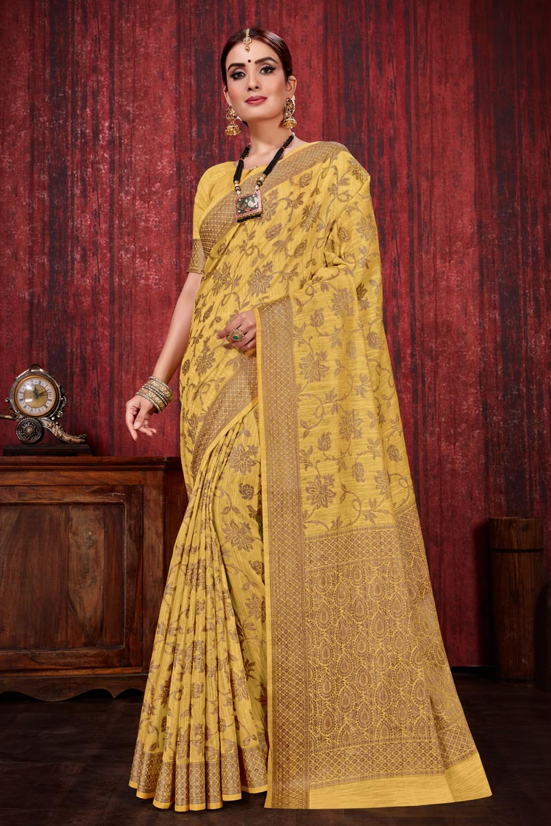 Linen Silk Fabric Festive Wear Weaving Work Designer Yellow Color Saree