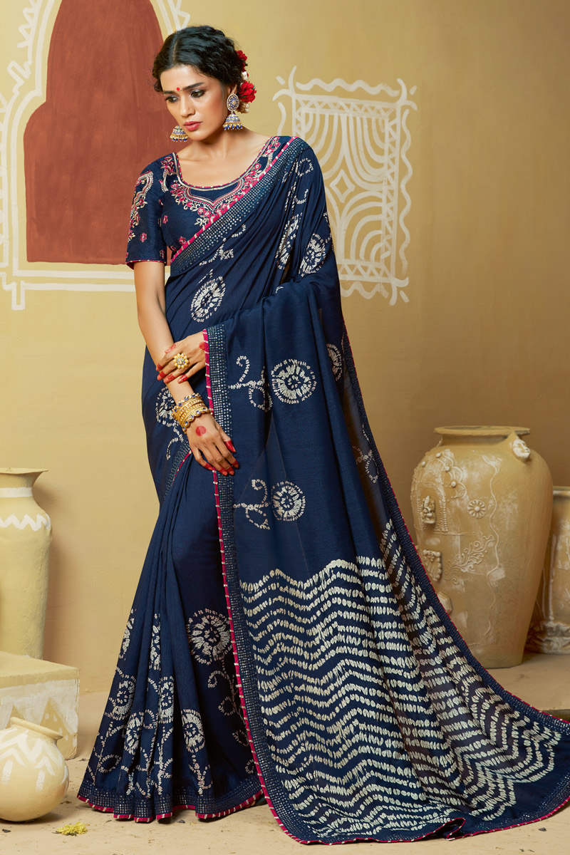 Georgette Fabric Lace Work On Navy Blue Color Bandhani Saree