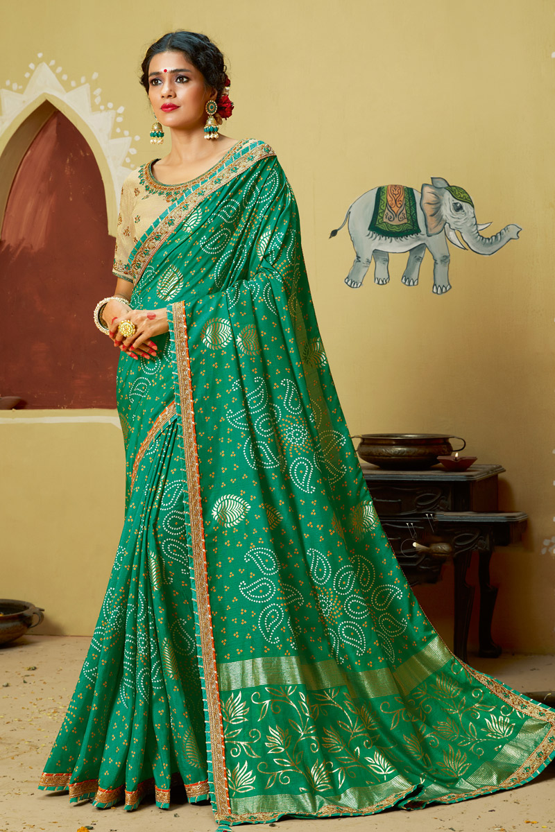 Green Color Georgette Fabric Bandhani Style Saree With Lace Work