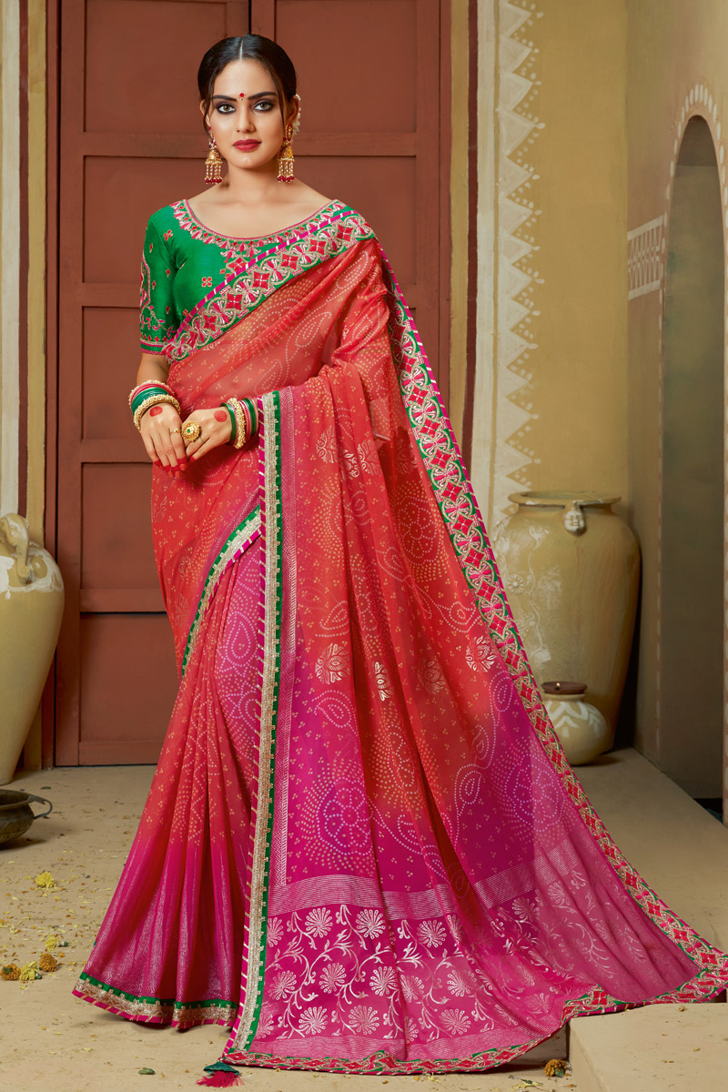 Red Color Party Wear Lace Work Bandhani Style Saree In Georgette Fabric With Designer Blouse