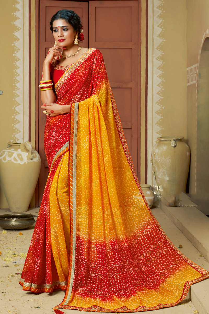 Georgette Fabric Yellow Color Occasion Wear Bandhani Style Saree With Lace Work And Elegant Blouse