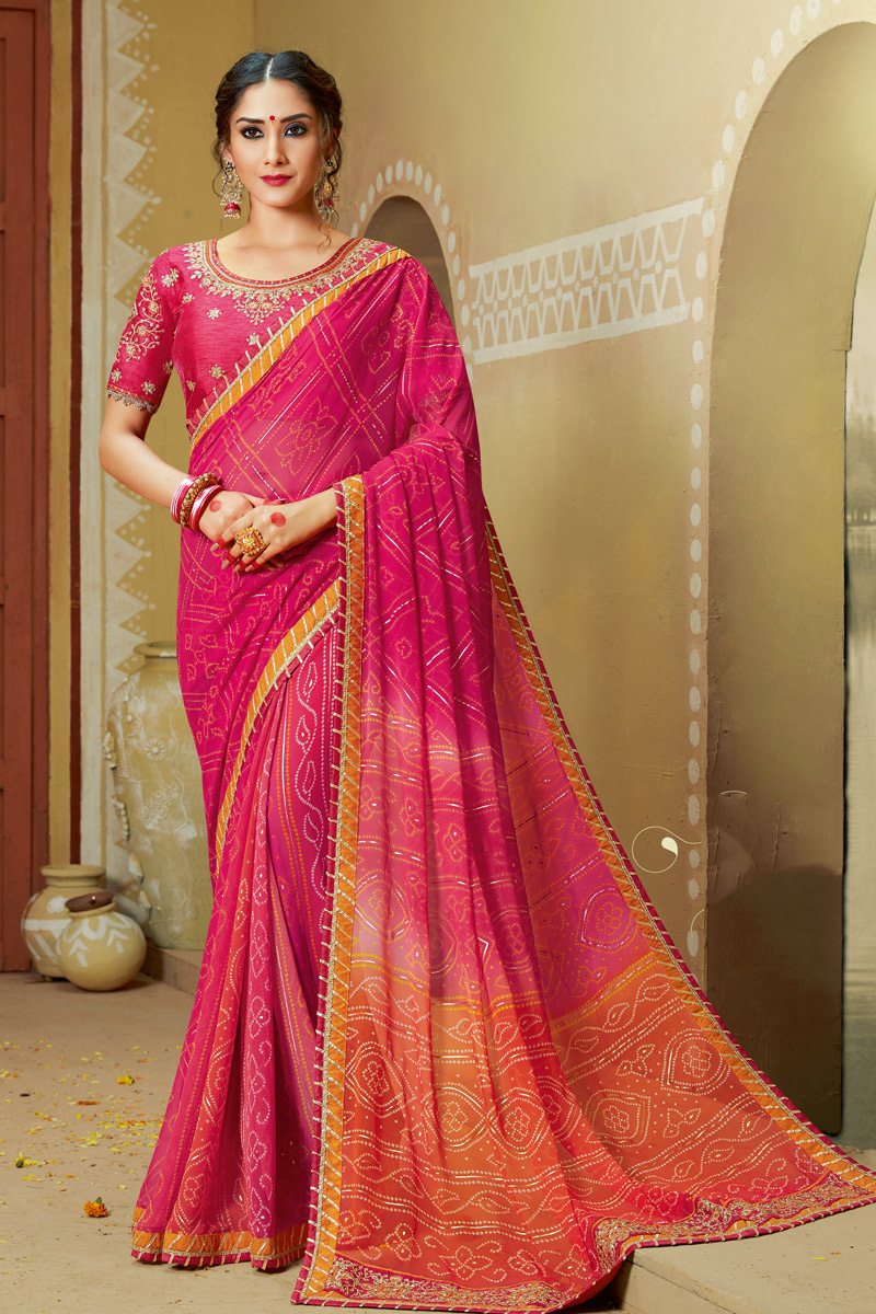 Lace Work Georgette Fabric Rani Color Designer Bandhani Style Saree With Mesmerizing Blouse