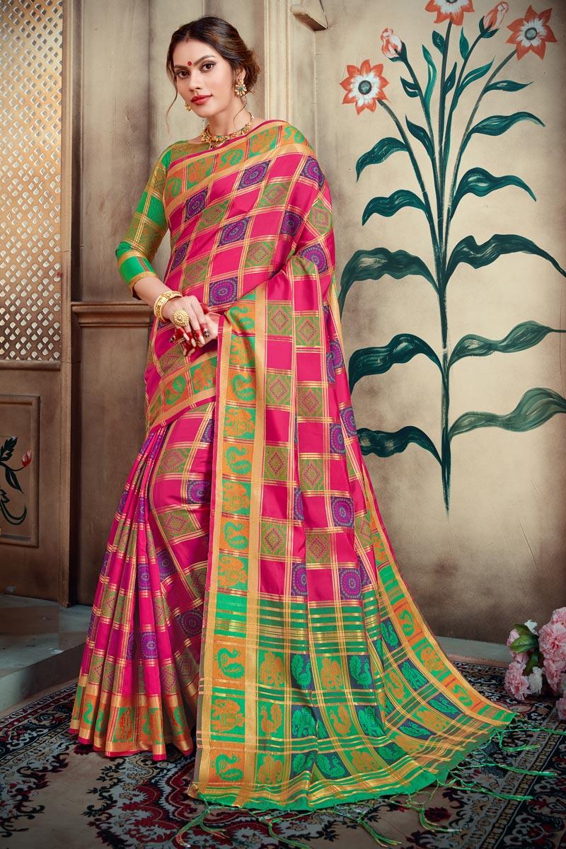 Designer Art Silk Rani Color Trendy Party Wear Saree With Weaving Work