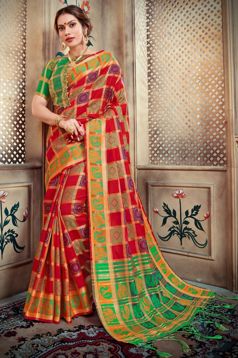 Art Silk Trendy Party Style Red Designer Saree With Weaving Work