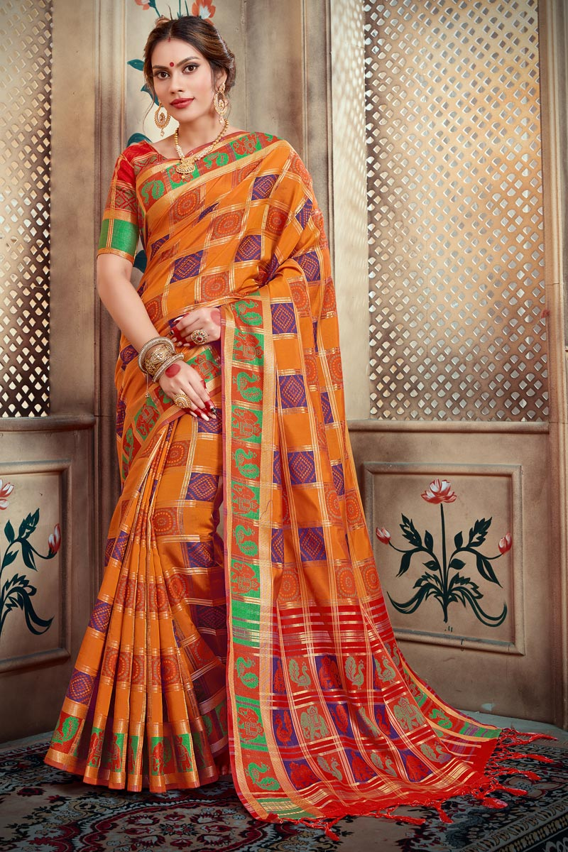 Designer Function Wear Orange Color Saree In Art Silk With Weaving Work