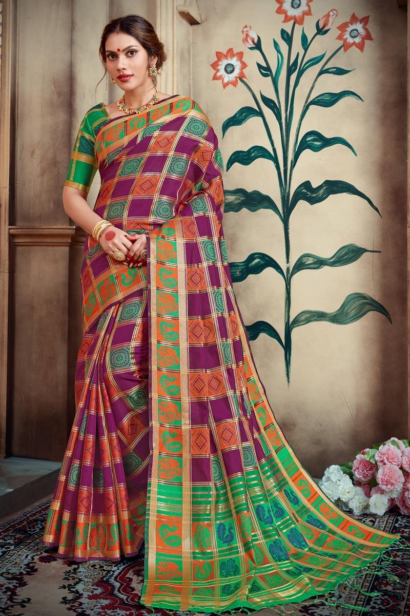 Trendy Party Wear Designer Art Silk Purple Weaving Work Saree