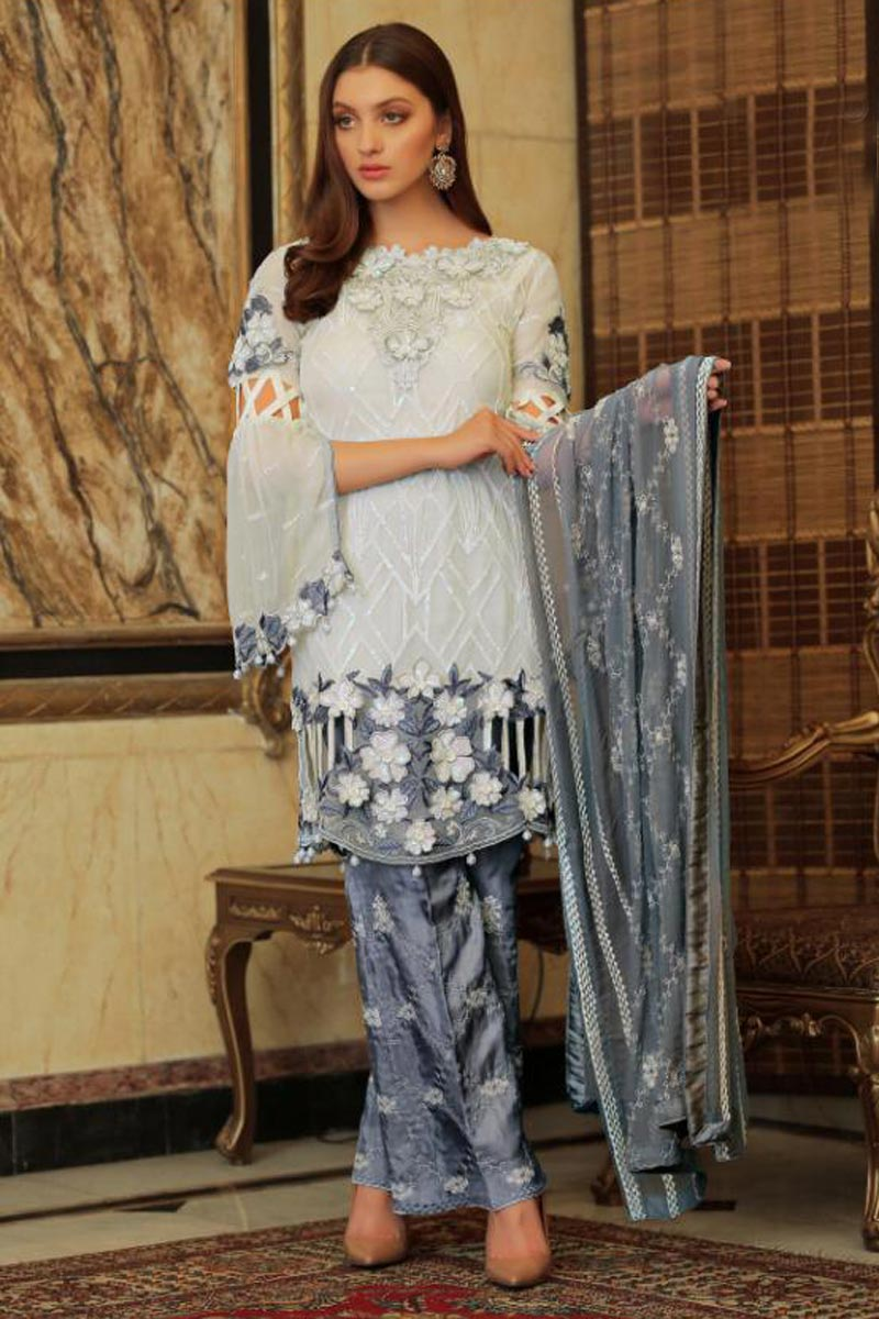 Eid Special Georgette Fabric Off White Color Party Wear Pakistani Style Dress