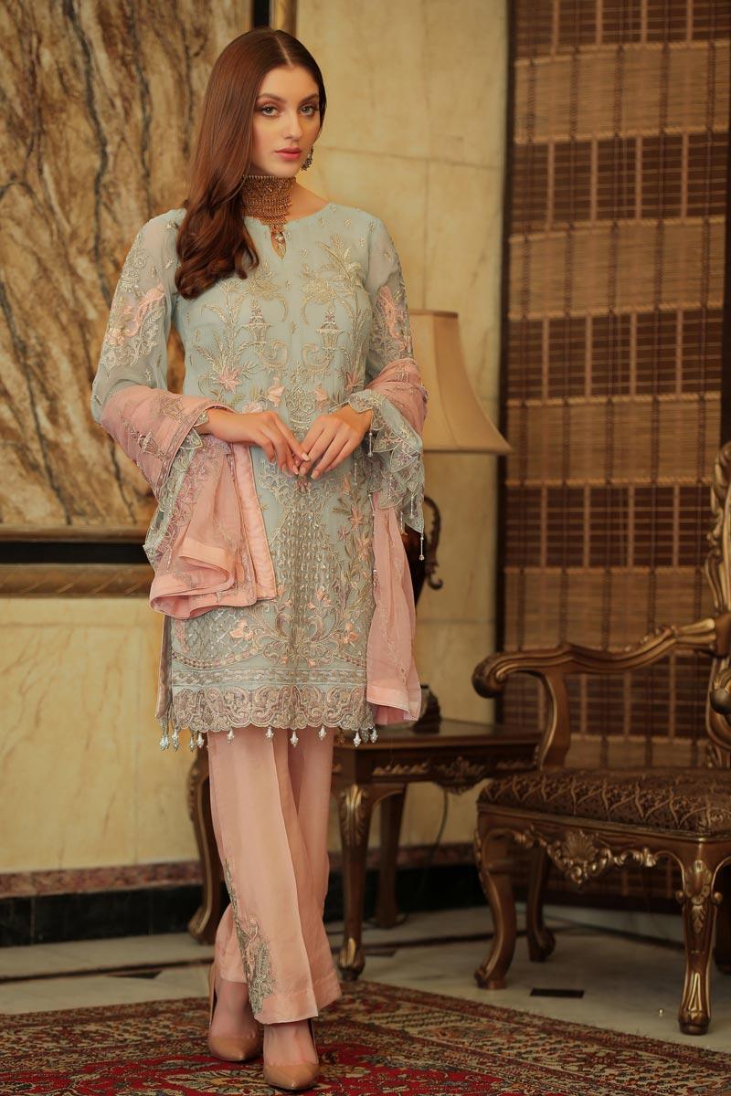 Georgette Fabric Party Wear Light Cyan Color Pakistani Style Dress