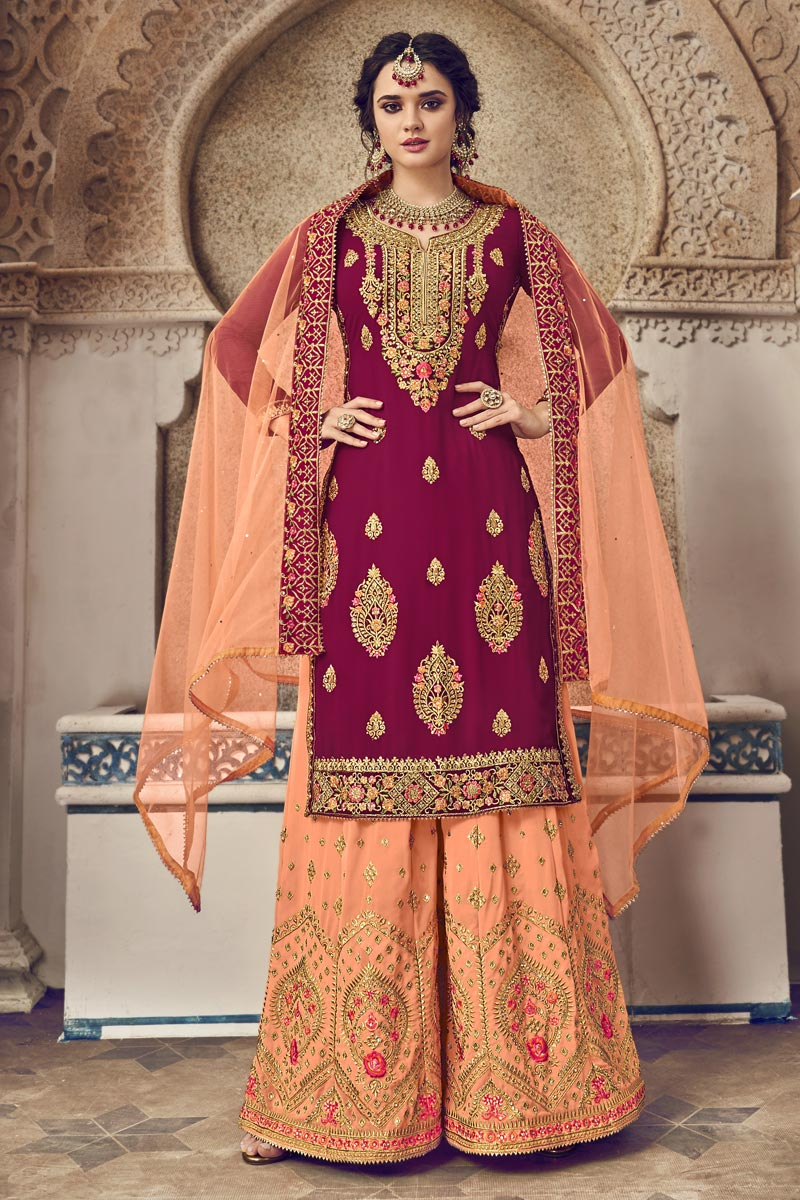Function Wear Georgette Fabric Designer Embroidered Palazzo Suit In Burgundy Color