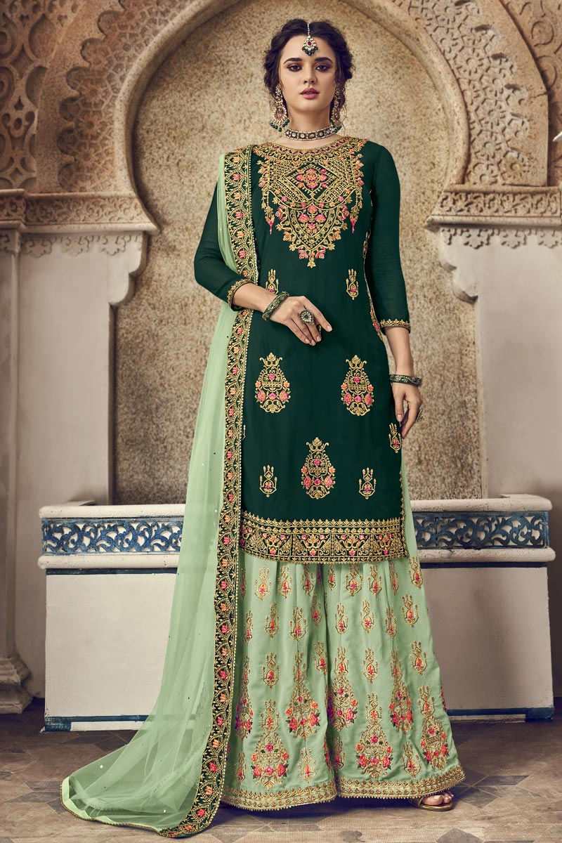 Designer Georgette Fabric Function Wear Embroidered Dark Green Color Palazzo Dress