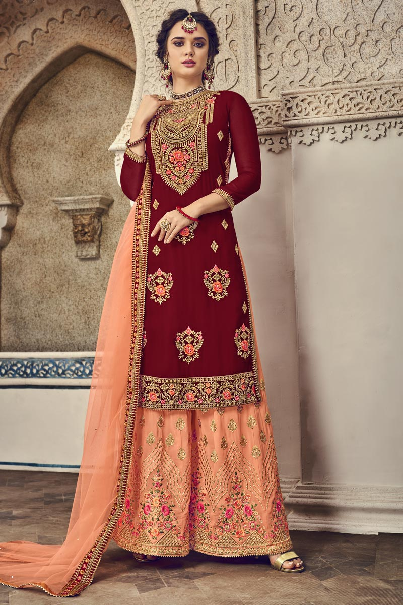 Maroon Color Function Wear Designer Embroidered Palazzo Suit In Georgette Fabric