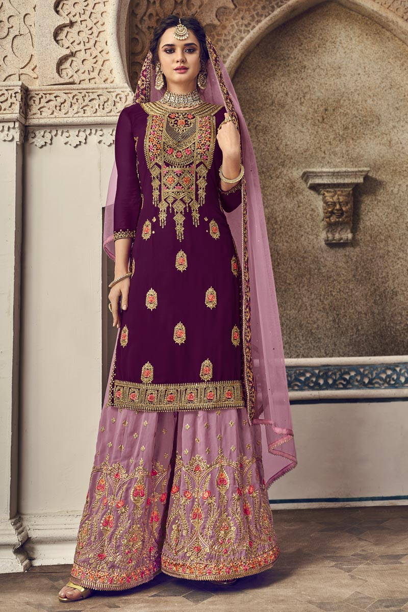 Function Wear Georgette Fabric Designer Purple Color Embroidered Palazzo Dress